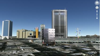 グーグルアースの3Dマップに設置されたインターネット建築